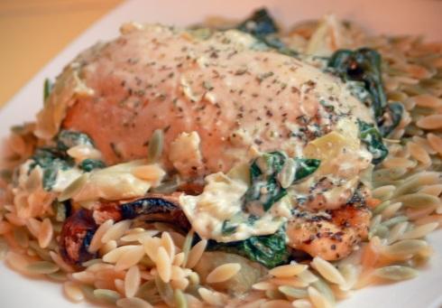 Spinach Artichoke Chicken with Orzo Pasta